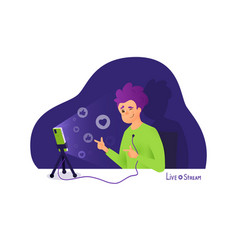 Blogger makes a live stream broadcasts and vector