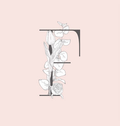 blooming floral elegant f monogram and logo vector image