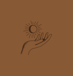 boho logo hand holding moon and sun vector image