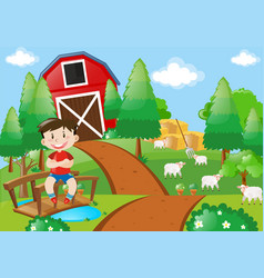 Boy smiling in the farm vector