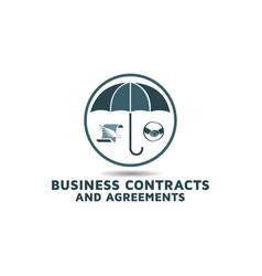 Business contracting agreement logo design vector