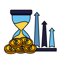 business hourglass arrows profit and coins vector image