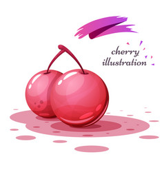 cartoon cherry with splatter juice vector image
