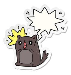 Cartoon shocked cat amazed and speech bubble vector
