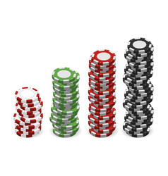 casino chips in stacks isolated on white vector image vector image