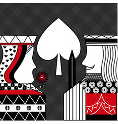 Casino poker queen and king spade card game black vector