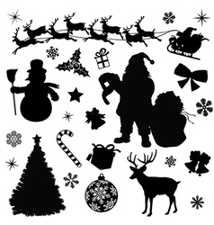 Christmas Collection Black Silhouettes vector image