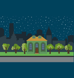 city with cartoon house and green trees vector image