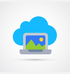 cloud laptop trendy symbol trendy colored vector image