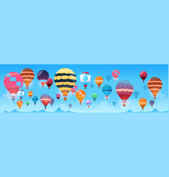 colorful air balloons flying in day sky banner vector image
