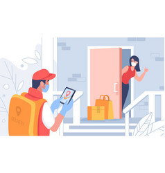 Contactless delivery cartoon courier carrying vector
