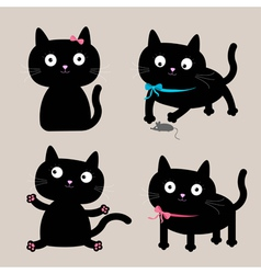 Cute cartoon black cat set Funny collection vector
