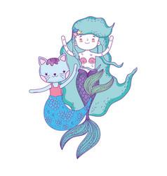 cute purrmaid and mermaid vector image