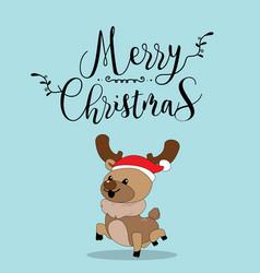 Cute reindeer christmas greeting card vector