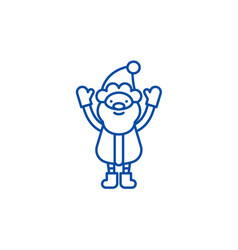 cute santa claus line icon concept cute santa vector image