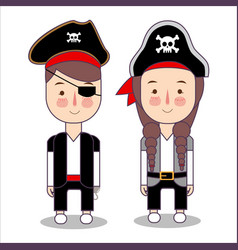 Cute set of children pirates costume for halloween vector