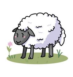Cute sheep in a field cartoon vector