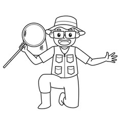Dad holding fishing nets character black and vector