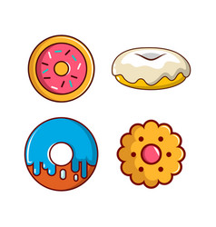 donut icon set cartoon style vector image