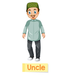 Educational english word card uncle vector