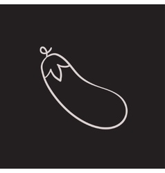 Eggplant sketch icon vector