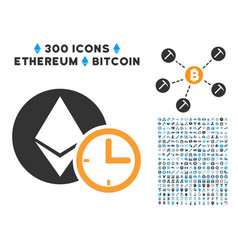 ethereum credit time flat icon with set vector image