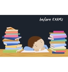 Exam student stress Schoolboy sleeping on books vector