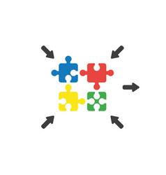 flat design concept of four puzzle pieces vector image