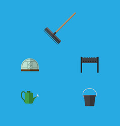 Flat icon garden set of barbecue pail hothouse vector