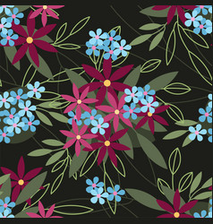 Floral seamless pattern flowers fashion print vector