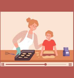 food bloggers mother and son cooking vlog about vector image
