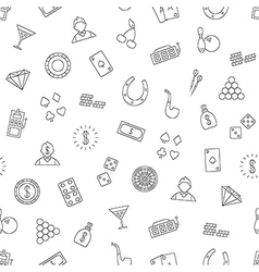 Gambling pattern black icons vector image