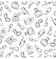 girls seamless pattern with cosmetics elements vector image