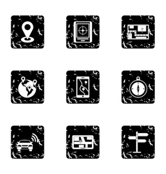 GPS map icons set grunge style vector