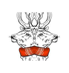 hand drawn graphic mirror christmas deer vector image
