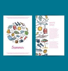 Hand drawn summer travel elements card vector