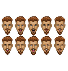 handsome bearded man in various face expression vector image
