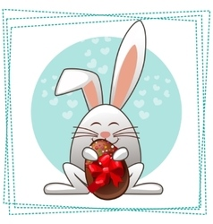 happy easter rabbit and multicolored eggs vector image