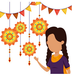 Hindu girl with party banner and flowers hanging vector