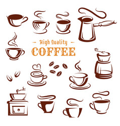 Icons set of coffee cups and makers vector