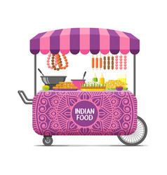 Indian street food cart colorful image vector