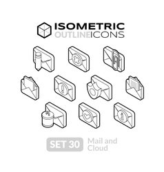 Isometric outline icons set 30 vector