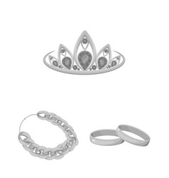 Jewelry and accessories monochrome icons in set vector