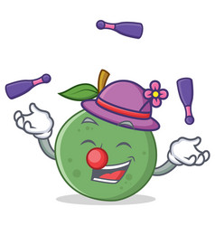 Juggling guava mascot cartoon style vector