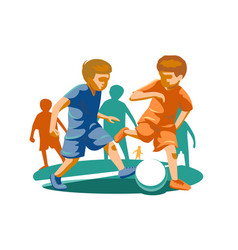 little kids playing football vector image