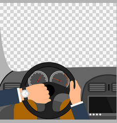 Man hands of a driver on steering wheel of a car vector