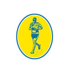 Marathon Runner Running Oval Retro vector