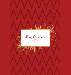 merry christmas doodle card simple frame gift vector image