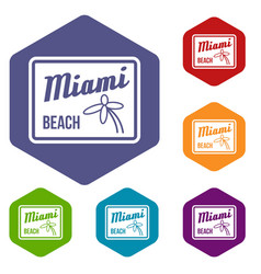 Miami beach icons set vector