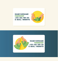 money business card with stack of dollar or vector image